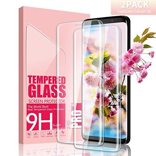 Youer Galaxy S8 Panzerglas Schutzfolie, [2 stück] Ultra-dünner Full Coverage HD Ultra Klar Abdeckung Gehärtetem Glas, HD Displayschutzfolie, Anti-Kratzer, 9H Härte,Klar Glatt,Blasenfreie - Transparent