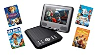 Lava 7-inch Screen Portable DVD Player with Fox Family Movie Bundle (Chronicles of Narnia - The Voyage of the Dawn Treader, Fantastic Mr Fox, Ice Age 3, Robots)