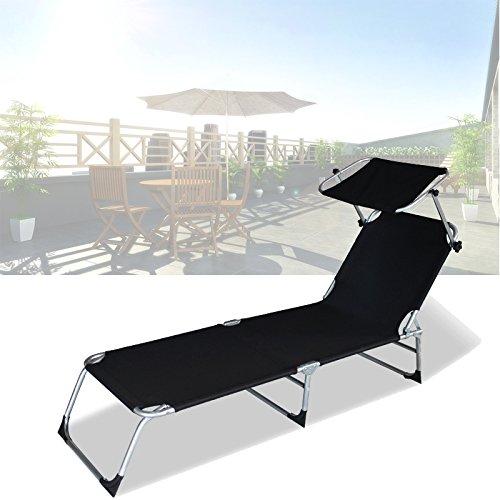 HG® Sonnenliege Gartenliege Strandliege Aluminium Schwarz Liege Sonnendach bis 110kg Relaxliege Hawaii Garten