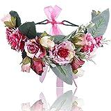 Boho Einstellbar Blume Stirnbänder Krone - Handarbeit Haarkranz Halo Blumengirlande Krone Kopfstück mit Band Festival Hochzeitsfeier (Rosen Rot)