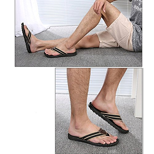 Linyuan Casual Style Non-slip Comfortable Men's Flip Flops Summer Sandals Beach Slippers Shoe Black