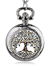 ShopyStore 41 Fashion Silver Stainless Steel Tree Of Life Chain Luminous Pocket Watch Necklace WOM