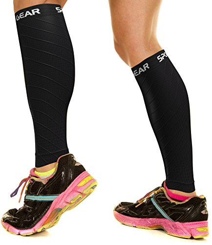 Physix Gear Sport Compression Calf Sleeves for Men & Women (20-30mmhg) - Best Footless Compression Socks for Shin Splints, Running, Leg Pain, Nurses & Pregnancy - Increase Circulation - BLK LXL