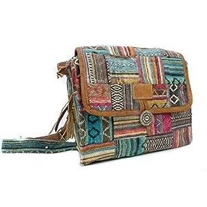 feelz – Bunte gewebte Tasche mit Lederriemen, Damen Handtasche, Herren Tasche, Schultertasche, Umhängetasche, bunt…