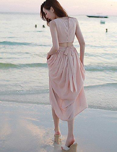 PU&PU Robe Aux femmes Swing Street Chic,Couleur Pleine Col Arrondi Midi Polyester PINK-XL