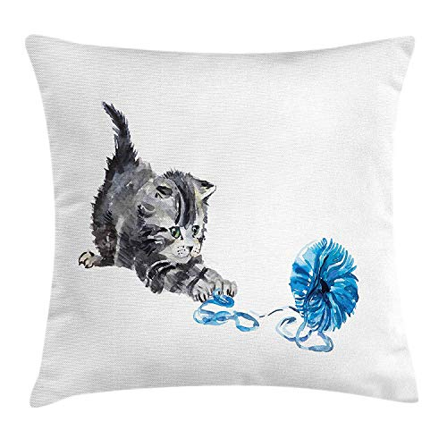 Cat Throw Pillow Cushion Cover, Playful Baby Kitten with Ball of Yarn Furry Animal Domestic Feline Kids Pets Artwork, Decorative Square Accent Pillow Case, 18 X 18 inches, Grey Blue