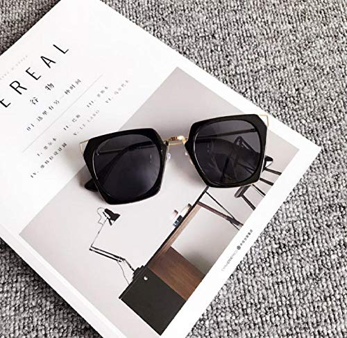 BHLTG Sonnenbrille Damen Persönlichkeit Hipster Box Katzenaugen Sonnenbrille großen Rahmen rundes Gesicht Farbfilm reflektierende Sonnenbrille Outdoor Sports Goggles-5