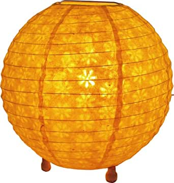 Corona round rice paper floor lamp 25 cm / Corona paper lampshades/ Variation: Color: Yellow