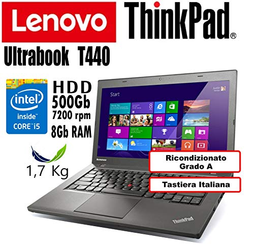 Notebook Ultrabook Lenovo ThinkPad T440 - Intel Core i5-4300U - RAM 8Gb - HDD 500Gb - 14' HD+ 1600x900 - Grado A (Ricondizionato) (T440 8Gb HDD500, .)