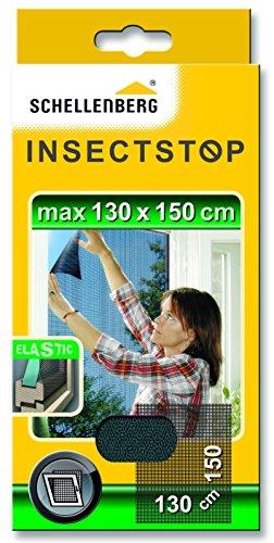 Schellenberg 51009 Fliegengitter für Fenster | ELASTIC für Fenster mit hervorstehenden Elementen am Fensterflügel | Maße: 130 x 150 cm | anthrazit | Montage ohne bohren | inkl. Befestigungsband
