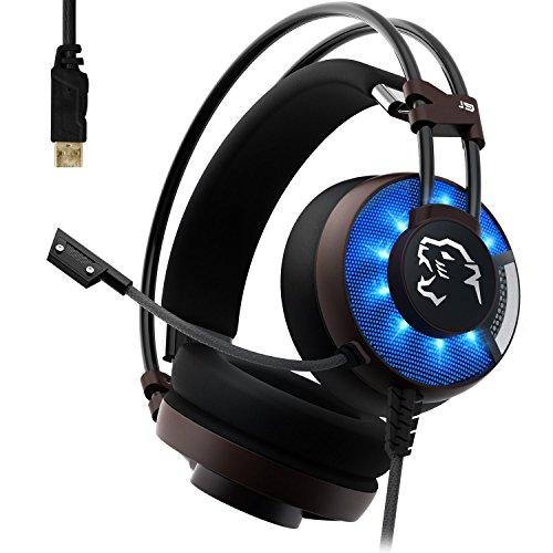AOSO J9 PC Gaming Headset Virtual 7.1 Surround-Sound Stereo Kopfhörer Over Ear mit USB-Stecker, Mikrofon, Tiefe Bässe und LED Licht für PS4, Computerspiele, Laptop und Mac