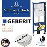 Geberit Duofix, V & B Omnia Classic Kit complet + Haro Couvercle Fermeture en douceur, C de plus plaque Delta 21Blanc