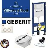 Geberit Duofix Vorwandelement, V&B Omnia Classic Komplettset + Haro Deckel Softclose, C-plus Drückerplatte Delta 21 weiss