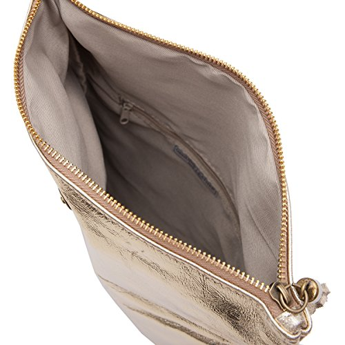 Clutch ,Borse a spalla (28 / 19 / 4 cm ) in pelle Mod. 2059 by Fashion-Formel Oro