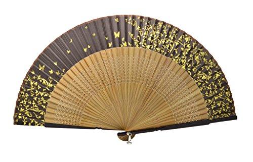 Tang dynasty (TM) Hochwertige Japanische Seide Handheld Fan Hand Fan Schwarz mit Schmetterling - - Japanese Fan Folding Red