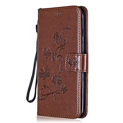 Moto G5 Brieftasche Hülle, Bear Village® Multifunktion Leder Schützthülle, Schmetterling Blumen Muster Hülle mit kartenfächern für Moto G5 (#5 Braun)