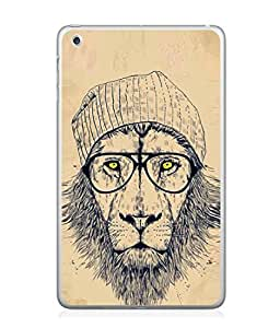 PrintVisa Designer Back Case Cover for Apple iPad Mini 4 :: Apple iPad Mini 4 Wi-Fi + Cellular (3G/LTE); Apple iPad Mini 4 Wi-Fi (Wi-Fi, W/o GPS) (Faishonabel Lion With Cap Eye Specs Yellow Eyes)