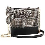 jEZmiSy Fashion Plaid Design Bowknot Frauen Cross Body Schultertasche Kette Handtasche Geschenk Black