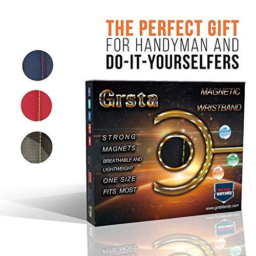 Wristband magnetico con forti magneti per lo svolgimento di viti, chiodi, punte da trapano – Miglior regalo per il fai da te strumento tuttofare, uomini, donne (Nero) - 7