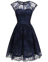 Bbonlinedress Damen Vintage 1950er Cocktailkleid Retro Rockabilly Spitzenkleid Festlich Abendkleid