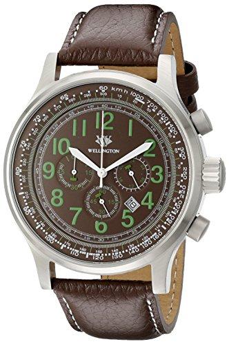 Wellington WN302-195 - Reloj cronógrafo de cuarzo de hombre (correa de acero inoxidable), esfera de color marrón