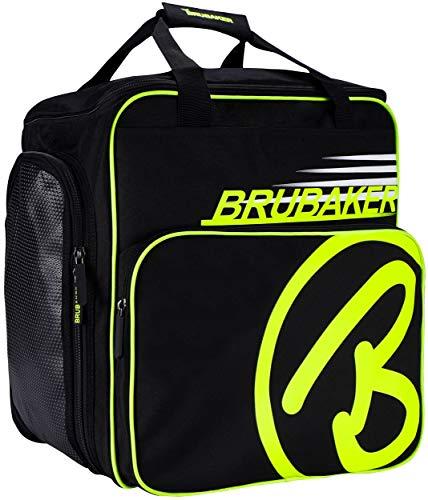 Brubaker Super Champion Borsa Porta Scarponi da Sci Borsa da Casco con portascarpe - Nero/Giallo Neon