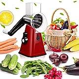 Picador de alimentos,Picadores y cortadores de alimentos, Máquina de cortar de alimentos multifunción, Picador de vegetales manual rápido y seguro, con 3 cuchillas cilíndricas de acero inoxidable