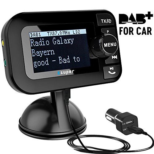 "[PLUG & PLAY] DAB Autoradio, Esuper DAB Transmitter Tragbar DAB+ Digitales Radio Adapter mit Bluetooth FM Transmitter + Aux-in/out + USB KFZ Ladegerät + TF Musik spielen+ Freisprechanruf+ 2.3"" Schirm"