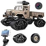 Waroomss Kamera RC Autos Elektrisches Ferngesteuertes Spielzeugs, Remote Control Autos mit Live Übertragung 4WD 2Motor 2.4G FPV WiFi (App) HD Kamera 2 Sätze Reifen, Militär LKW Auto für Kinder