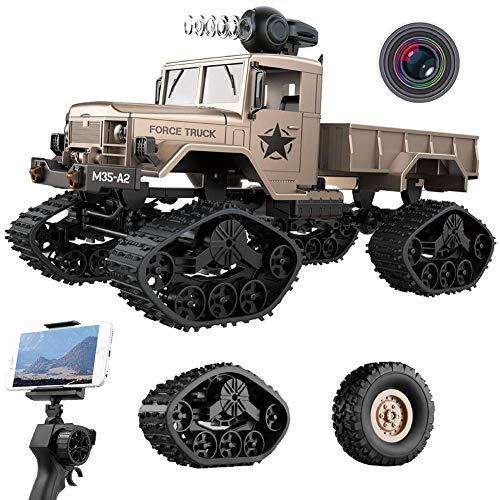 utos Elektrisches Ferngesteuertes Spielzeugs, Remote Control Autos mit Live Übertragung 4WD 2Motor 2.4G FPV WiFi (App) HD Kamera 2 Sätze Reifen, Militär LKW Auto für Kinder ()