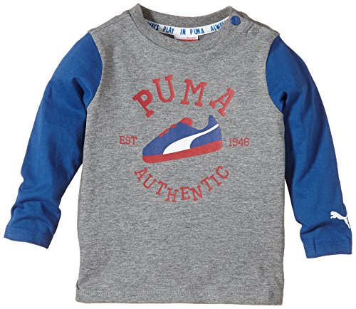 Puma Baby T-Shirt Long Sleeve Graphic Tee Medium Gray Heather-Limoges, 62 -