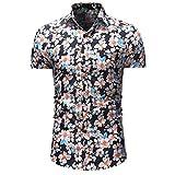 NPRADLA T Shirt pour des Hommes Fleur DéContractéE Bouton vers Le Bas Court Manche HawaïEn Chemise Casual Nouveau Printemps éTé Haut Chemisier Tops Blouse Bleu XXL
