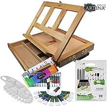 Artina - Caballete maletín Colmar y set de 12 colores acrílicos, 15 pinceles y 1 paleta de mezclas