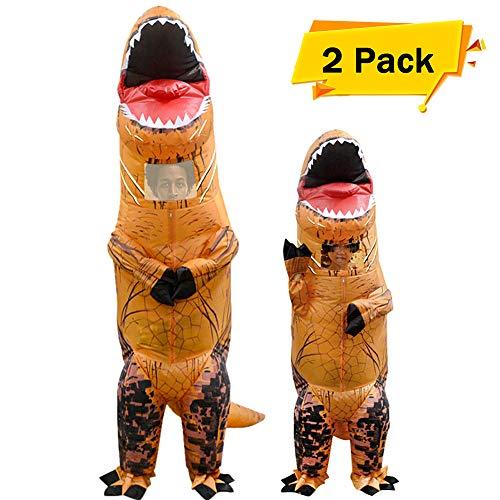 VAMEI 2pcs Halloween Dinosaurier Kostüme aufblasbare T Rex Kostüm Erwachsene KInder Kostüm lustige Cosplay Outfit für Dinosaurier Party Halloween Karneval Kinder und Erwachsene mit Kordelzug Geschenk-Taschen