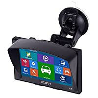 Xgody 520 Portable Car Lorry GPS Navigation 5 Inch Sat Nav Touch Screen Built-in 8GB ROM Lifetime Map Spoken Turn-By-Turn Directions with Sun Shade Vehicle Navigator