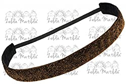 Zelda Matilda - CHILD - Brown Sparkle NO SLIP Sweat Band - Great for Dancers, Yoga, Sports, Cheer, Exercise and Everyday