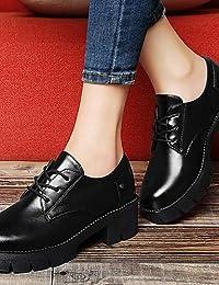 ZQ Zapatos de mujer - Tacón Cuña - Punta Redonda - Oxfords - Vestido / Casual - Cuero Patentado - Negro / Rojo / Beige , red-us8 / eu39 / uk6 / cn39 , red-us8 / eu39 / uk6 / cn39