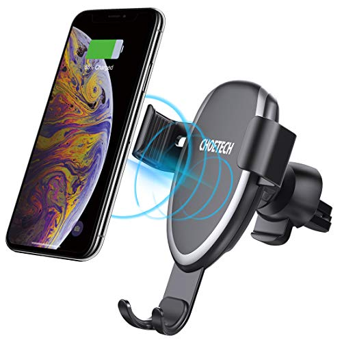 CHOETECH Caricatore Wireless Auto, Gravità Ricarica Wireless da Auto 7.5W per iPhone XS/XS Max/X/8/8 Plus/Xiaomi Mix 2S, 10W per Galaxy S9/S9 +/S8/S8 +/Note 8 e 5 W per Huawei Mate 20 Pro/P30 Pro