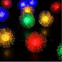 Paramount City Outdoor Solar Lights 16ft 20 LED Dandelion Ball String Fairy Light Dandelion Ball Solar Power Waterproof Lights Outside Garden Camping Patio Party Christmas (Multicolor)