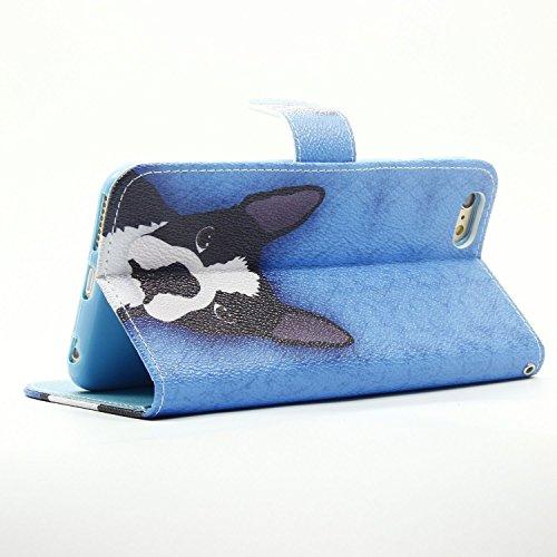 Etsue für iPhone 6 Plus/6S Plus [Sommer Meer Fisch] Leder Schutzhülle Ledertasche mit Kartenfach, Bunte Retro Painted Flip Case Handytasche Magnetverschlus Lederhülle Leder Case Wallet Case Backcover  schwarz Weiß Hund