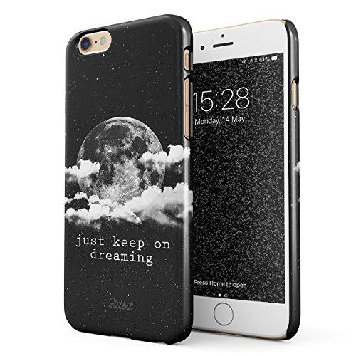 Glitbit Just Keep On Dreaming Motivational Quote Space Galaxy Stars Moon Cosmic Tumblr Mond Zitat Dünn Robuste Rückschale aus Kunststoff Für iPhone 6 Plus / 6s Plus Handyhülle Schutz Hülle Case Cover