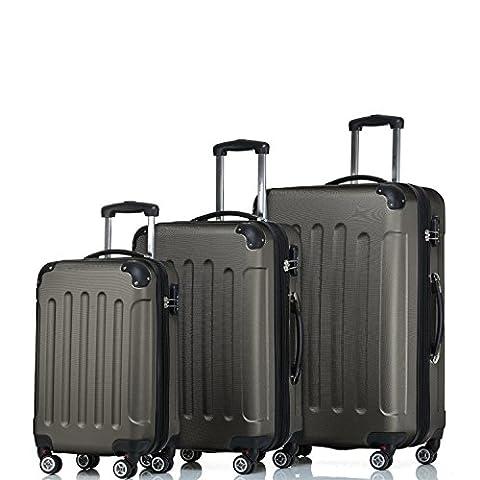 SHAIK ® Serie BUTTERFLY Design FRA 3 Größen M   L   XL   Set   Hartschalen Kofferset 45/78/124 Liter, 4 Doppelrollen, 25% mehr Volumen durch Dehnfalte Zahlenschloss (Set, Anthrazit)