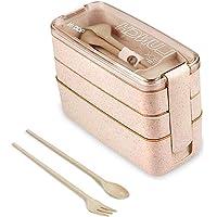 Lunch Box,Bento Box,Anti-Fuite Écologique Boîtes Bento,3 Compartiments Anti-Fuite Écologique Boîte de Conservation avec…