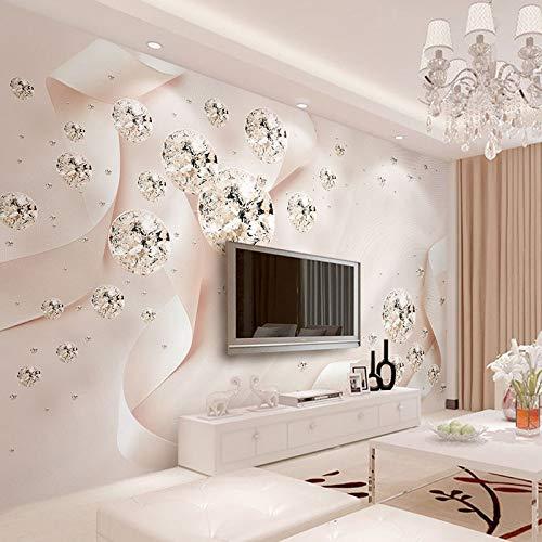Fototapete 3d effekt 3D Stereoscopic Jewelry Pink Ribbon Kristallkugel Wandbild Tapete Wohnzimmer TV Sofa Hintergrund Wandverkleidung Wohnkultur Fresko-450X300CM -