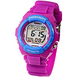 Time100 Unisex Kids' Digital Timing Multifunctional Waterproof Purple Silicone Strap Children Boy's Girl's Outdoor Sport Electronic Watches #W40011L.06A