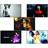 Printelligent Set Of Posters Original Quotes Decorative Cristiano Ronaldo Poster (Pack Of 5) News Paper Size 14 Inch X 26 Inch Great Designs High Quality Matte Finish 32 Micron Lamination Thick 300 Gsm Imported Paper Multi Colour Digital HD Printing Home
