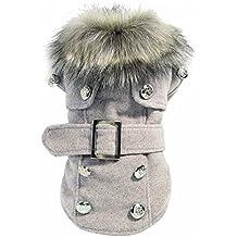 TOOGOO(R) Abrigo calido de invierno de perro Chaqueta de lujo Ropa del perrito Ropa para mascotas Vestido de gato(Gris S)