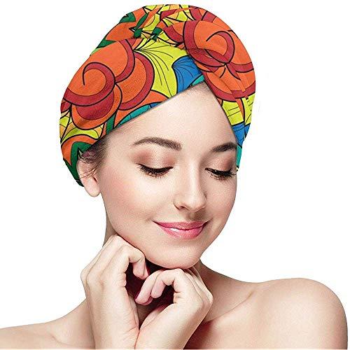 Archiba Hair Dry Capfloral Pattern Handtuch Turban Wrap Soft Duschkopf Handtuch Schnelltrockner Hut