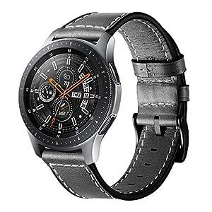 Circle für Samsung Galaxy Watch Armband,22mm Lederarmband Edelstahl Verschluss Ersatzarmband für 46mm Samsung Galaxy Watch SM-800 / SM-R805