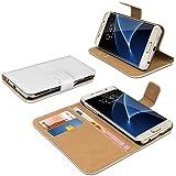 eFabrik housse pour Samsung Galaxy S7 Edge coque cover smartphone sac de protection accessoire case similicuir blanc